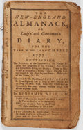 Books:Americana & American History, Benjamin West. The New-England Almanack, or Lady's andGentleman's Diary for the Year of our Lord Christ 1777. J...