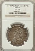 Bust Half Dollars: , 1834 50C Small Date, Small Letters XF40 NGC. O-116. NGC Census:(0/0). PCGS Population (101/737). ...
