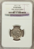 Buffalo Nickels, 1921-S 5C -- Obv Scratched -- NGC Details. VF. NGC Census:(78/543). PCGS Population (113/780). Mintage: 1,557,000. Num...