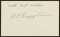 Baseball Collectibles:Others, Dazzy Vance Signed Index Card. ...