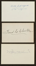 Baseball Collectibles:Others, Pie Traynor, Fred Clarke and Bill McKechnie Signed Index Cards. ...