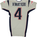 """Football Collectibles:Uniforms, 2004 Adam Vinatieri Game Issued New England Patriots """"Silver Alternate"""" Jersey...."""