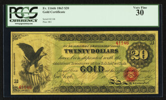 Featured item image of Fr. 1166b $20 1863 Gold Certificate PCGS Very Fine 30.  ...