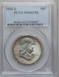 Franklin Half Dollars, 1952-S 50C MS66 Full Bell Lines PCGS....