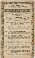 "Books:Americana & American History, 19th Century American Religious Tract ""First Class Ticket Good forOne Passage Through Life From Earth to the New Jerusalem"". ..."