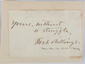 """Autographs:Authors, Josh Billings [pseudonym for Henry Wheeler Shaw], American Writer. Clipped Signature """"Josh Billings"""". Mounted to a small..."""