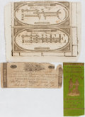 Books:Americana & American History, [Vermont]. Civil War Veterans' Reunion Ribbon and Vermont Currency.Currency with folds and tears, else very good; ribbon fi...