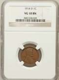 Lincoln Cents: , 1914-D 1C VG10 NGC. NGC Census: (568/4672). PCGS Population(497/3991). Mintage: 1,193,000. Numismedia Wsl. Price for probl...
