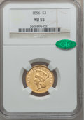 Three Dollar Gold Pieces, 1856 $3 AU55 NGC. CAC....
