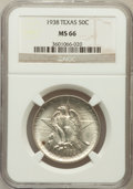 Commemorative Silver: , 1938 50C Texas MS66 NGC. NGC Census: (231/48). PCGS Population(206/41). Mintage: 3,780. Numismedia Wsl. Price for problem ...
