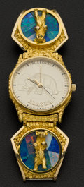 Timepieces:Wristwatch, Bulova Gent's Gold Nugget & Opal Wristwatch. ...