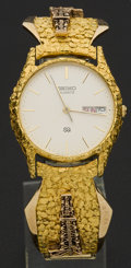 "Estate Jewelry:Watches, Seiko Gold Nugget ""Oil Rig"" Wristwatch. ..."