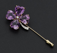 Amethyst & Diamond Gold Stick Pin