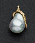 Estate Jewelry:Pendants and Lockets, Large Freshwater Pearl Gold Pendant. ...