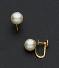 Estate Jewelry:Earrings, Cultured Peal & Gold Earrings. ...