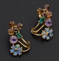 Estate Jewelry:Earrings, Multi-Color Stone Flower Earrings. ...