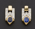 Estate Jewelry:Earrings, Sapphire & Diamond Gold Earrings. ...