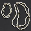 Estate Jewelry:Pearls, Cultured Pearl Necklace & Bracelet. ...