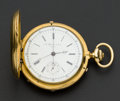 Timepieces:Pocket (pre 1900) , A. Huguenin & Sons Massive 18k Gold Hunters Case Chronograph....