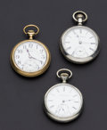 Timepieces:Pocket (post 1900), Illinois 19 Jewel, Waltham 7 Jewel Model 88 & Elgin 16 SizeConvertible. ... (Total: 3 Items)