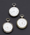 Timepieces:Pocket (pre 1900) , A Lot Of Three Swiss Key Wind Pocket Watches Runners. ... (Total: 3Items)