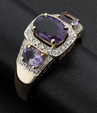 Gold Amethyst & Diamond Ring