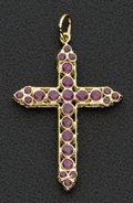 Estate Jewelry:Pendants and Lockets, Double Sided 18k Gold Ruby Set Cross. ...