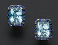 Estate Jewelry:Earrings, Aquamarine & Sapphire White Gold Earrings. ...