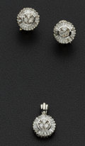 Estate Jewelry:Suites, Lovely Diamond Cluster Earrings With Matching Pendant. ...