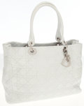 Luxury Accessories:Bags, Christian Dior White Leather Cannage Tote Bag. ...