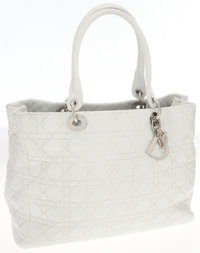 Christian Dior White Leather Cannage Tote Bag