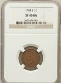 Indian Cents: , 1908-S 1C XF40 NGC. NGC Census: (314/1506). PCGS Population(268/842). Mintage: 1,115,000. Numismedia Wsl. Price for proble...