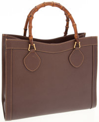 Gucci Brown Leather Bamboo Handle Tote Bag