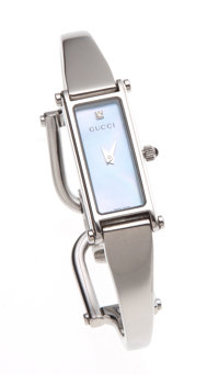 Gucci Stainless Steel and Blue Shell 1500L Wrist Watch with Horseshoe Closure and Diamond Marker