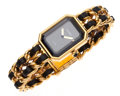 Luxury Accessories:Accessories, Chanel Premiere Ladies Watch with Classic Gold Chain and Leather Strap Size M. ...