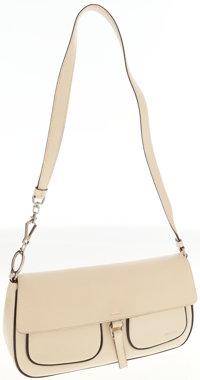 Prada White Leather Shoulder Bag with Black Piping