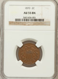 Two Cent Pieces: , 1870 2C AU55 NGC. NGC Census: (26/245). PCGS Population (14/85).Mintage: 860,250. Numismedia Wsl. Price for problem free N...