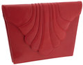 Luxury Accessories:Bags, Renaud Pellegrino Red Leather Clutch with Shoulder Strap. ...