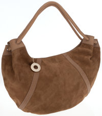 Fratelli Rosetti Tan Leather and Suede Hobo Shoulder Bag