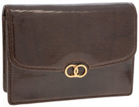 Gucci Brown Lizard Clutch with Gold Clasp