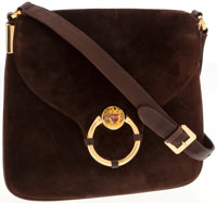 Gucci Brown Suede Shoulder Bag with Enamel Tiger Head Clasp