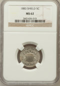 Shield Nickels: , 1883 5C MS62 NGC. NGC Census: (177/1076). PCGS Population(241/1236). Mintage: 1,456,919. Numismedia Wsl. Price forproblem...