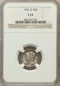 Mercury Dimes: , 1921-D 10C Fine 12 NGC. NGC Census: (67/391). PCGS Population(112/735). Mintage: 1,080,000. Numismedia Wsl. Price for prob...