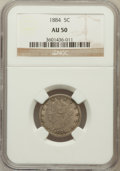 Liberty Nickels: , 1884 5C AU50 NGC. NGC Census: (3/372). PCGS Population (15/461).Mintage: 11,273,942. Numismedia Wsl. Price for problem fre...