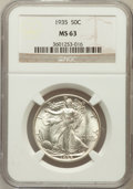 Walking Liberty Half Dollars: , 1935 50C MS63 NGC. NGC Census: (267/1695). PCGS Population(432/2685). Mintage: 9,162,000. Numismedia Wsl. Price for proble...