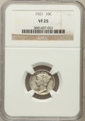 Mercury Dimes: , 1921 10C VF25 NGC. NGC Census: (26/223). PCGS Population (45/319).Mintage: 1,230,000. Numismedia Wsl. Price for problem fr...