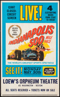 """Movie Posters:Sports, Indianapolis 500 (1961). Window Card (13.25"""" X 21.5""""). Sports.. ..."""