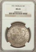Morgan Dollars: , 1921 $1 MS65 NGC. NGC Census: (7845/548). PCGS Population(3834/338). Mintage: 44,690,000. Numismedia Wsl. Price forproble...