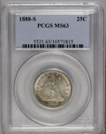 Seated Quarters: , 1888-S 25C MS63 PCGS. PCGS Population (19/25). NGC Census: (10/47).Mintage: 1,216,000. Numismedia Wsl. Price: $600. (#5521...