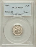 Three Cent Nickels: , 1868 3CN MS63 PCGS. PCGS Population (129/236). NGC Census:(84/234). Mintage: 3,252,000. Numismedia Wsl. Price for problem ...